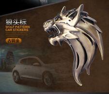 2 Pcs 3D WOLF HEAD Logo 3D Metal Auto Car Emblem Badge Bonnet Sticker Decal