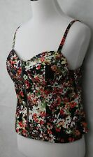 Allen B. Stunning Multi Colored Floral Stretch Cotton Bustier Top SZ 12 EUC