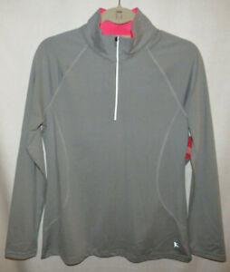 Danskin Now semi-fitted gray quarter zip long sleeve top, Ladies Medium(8-10)