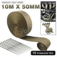 Exhaust Heat Wrap Roll Fiberglass Heat Tape with Stainless Ties Titanium Gold