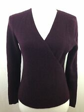 Purple Tweeds 100% Italian Merino Wool Sweater Womens Medium Knit Top Faux Wrap