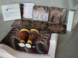 Australian Aboriginal Art table accents: coasters, tea towel, Salt & Pepper MINT
