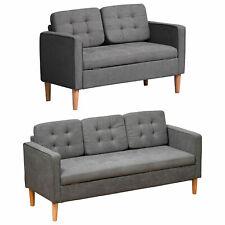 2-Sitzer Sofa Stoffsofa Doppelsofa abnehmbar mit Kissen Gummiholz Baumwoll Grau