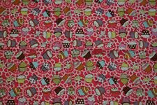Fabric remnant - Cupcakes with Vibrant Pink background Free P&P