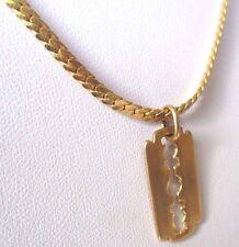 pendentif chaîne maille serpent bijou vintage 50 cm lame rasoir couleur or 277