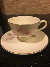 Pink Dogwood Knowles by Kalla China Footed Cup & Saucer Set Vintage