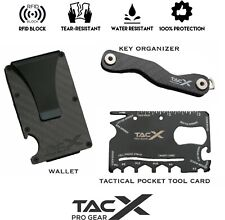 RFID Men's Carbon Fiber Tactical Wallet Bundle | Key Organizer | MultiTool Card