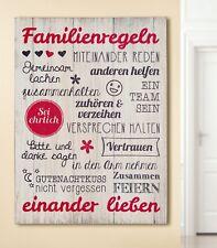 MDF Wandbild Spruch Weisheiten Familienregeln Dekoration Tafel Schild 41776