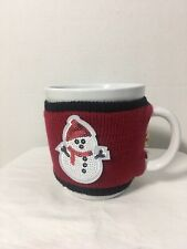 """Design Pac White Coffee Tea Mug Cup with Winter Sleeve Red Sweater4 1/2"""" x 4"""""""
