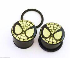 "PAIR-Spiderman DC Comics Glow Acrylic Single Flare Plugs 11mm/7/16"" Gauge Body J"