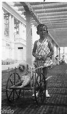 BJ086 Carte Photo vintage card RPPC Enfant chien dog charette lignes ombre