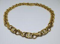 "Swarovski Signed Chunky Infinity Link Chain Choker Necklace Vintage Gold 16"""