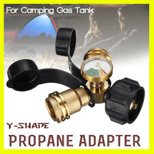 Propane Y-Splitter Adapter 1 In 2 Outlet Connector Dual Hose BBQ Heater + Cover