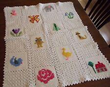 Vintage Afghan Handmade Crochet GRANNY Quilt Blanket cat elephant butterfly bird
