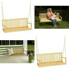 Outdoor Porch Swing Natural Wood Tree Chains 4/5ft Seating Bench Patio Furniture
