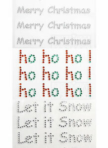 Self Adhesive Diamante Clear Silver Red Green Greetings Christmas Embellishments