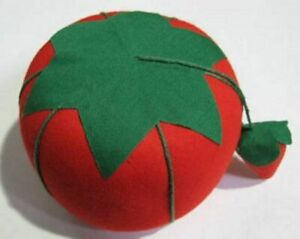 """Tomato Pin Cushion, With Strawberry Emery, Large Size (4""""), 1 each"""