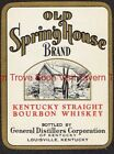1940s KENTUCKY Louisville Old Spring House Straight Whiskey Label