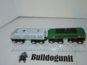 Lot 2 Locomotive Wooden Blue Green Coal Magnetic Train Car Battat Wood Magnet