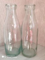 Lot of 2 Vintage Rare Milk Kefir Old Glass Empty Bottles USSR Soviet Uzbekistan