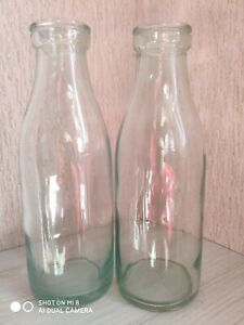 Lot of 2 Vintage Rare Milk Kefir Old Glass Empty Bottles USSR Soviet Uzbekistan