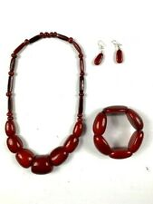 Necklace-Bracelet And Earrings Set Tagua Organic Nut (Vegetable Ivory)
