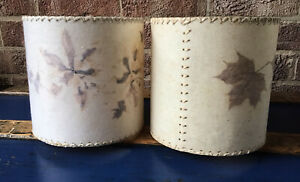 Vintage Pair Pressed Dried Flowers Leaves Lampshades on Vellum Parchment & Paper