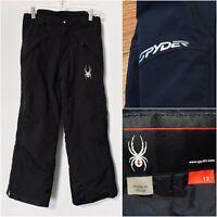 Spyder Kids 12 Medium M Insulated Snow Ski Snowboard Pants, Full Side Zip Black