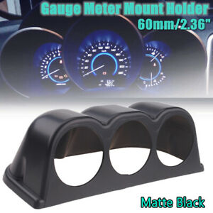 "2"" 60mm UNIVERSAL ABS 3 TRIPLE HOLE PILLAR GAUGE POD MOUNT HOLDER MATTE BLACK"