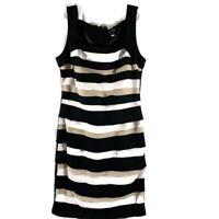 White House Black Market Women's Dress Size 10 Black White Tan Ruffle Tank Lined