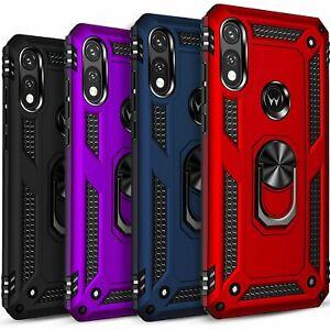 For Motorola Moto E 2020 Phone Case, Kickstand Cover + Tempered Glass Protector
