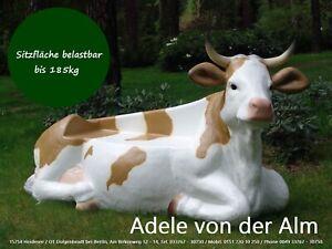 Deko Kuh lebensgroß lebensecht als Kuhbank cow mucca von der Alm vache liegend