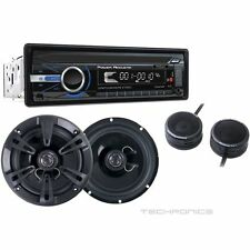 "POWER ACOUSTIK PCD-41 CD MP3 USB SD CAR STEREO + RF-652T 6.5"" REAPER SPEAKERS"