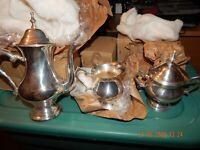 SILVER PLATED 2010 3 PIECE TEA SET MADE IN INDIA TEAPOT CREAMER SUGAR BOWL NIB