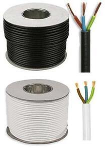 3 Core White & Black Electrical Mains Flex 240v 0.75mm, 1.5mm, 2.5mm (65)