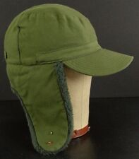 Vintage original 1966 Military Army Green fuzzy flap hat cap ear flaps size 57