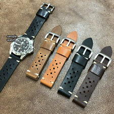 Size 18/20/22mm Handmade Sport Racing Rally Style Leather Watch Strap Band #166A