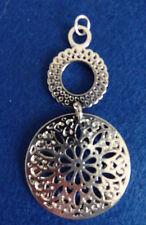 Silver Tone Sacred Geometry Double Mandala Pendant Necklace Jewellery