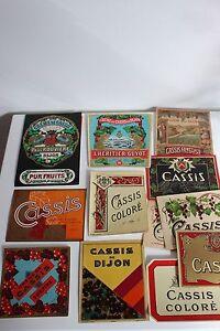 13 Etiquettes anciennes CASSIS Alcool Chromos Collection Publicité Bistrot Café