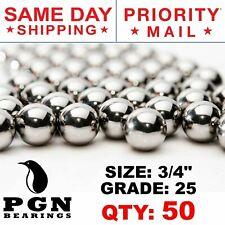 "50 QTY - 3/4"" Inch G25 Precision Chrome Steel Bearing Balls Chromium AISI 52100"
