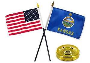 "Kansas State w/ USA America American Flag 4""x6"" Desk Set Table Stick Gold Base"