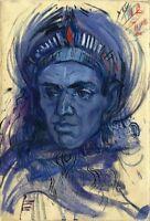 """Russischer Realist Expressionist Öl Leinwand """"Blauer Kopf"""" 30 x 20 cm"""