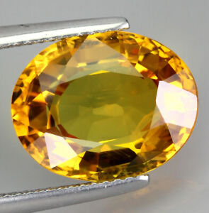 Certificate 8.34ct 14x11mm Oval Cut Natural Yellow Sapphire Thailand Heated Only