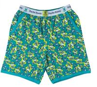 Psycho Bunny Men's Printed Stretchy Knit Jam Cotton Lounge Shorts Green Logo