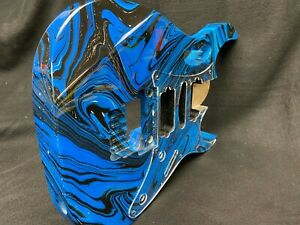 Poplar 6 string Jem style guitar body, blue black swirl, AANJ, HSH- RB115