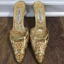 Manolo Blahnik Leather Gold Tapestry Shoes Kitten Heel Open Back 38 EU/7.5-8 USA