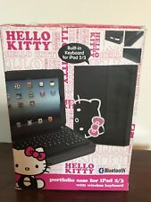 Hello Kitty Black Leather case with Wireless Keyboard Bluetooth IPad 2/3 Gen NIB