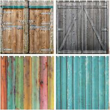 Rustic Barn Wooden Wall Door Shower Curtain Bathroom Waterproof Fabric &12 Hooks