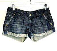 American Eagle Shorts Size 2 Rolled Hem Dark Blue Grey 100% Cotton 29x2.5