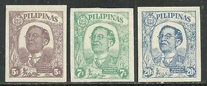 U.S. Possession Philippines stamp scott n37, n38, n39 - imperf 1945 issues